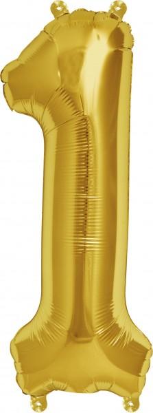 Folienballon Zahl 1, ca. 35 cm, GOLD, für Luftbefüllung
