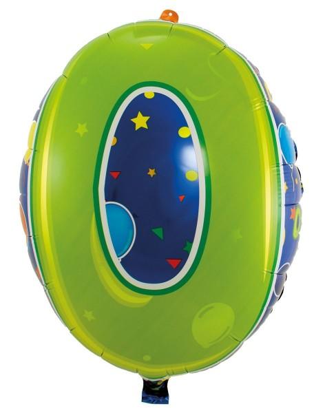 Ballongruß: Zahl 0 bunt, ca. 53 cm