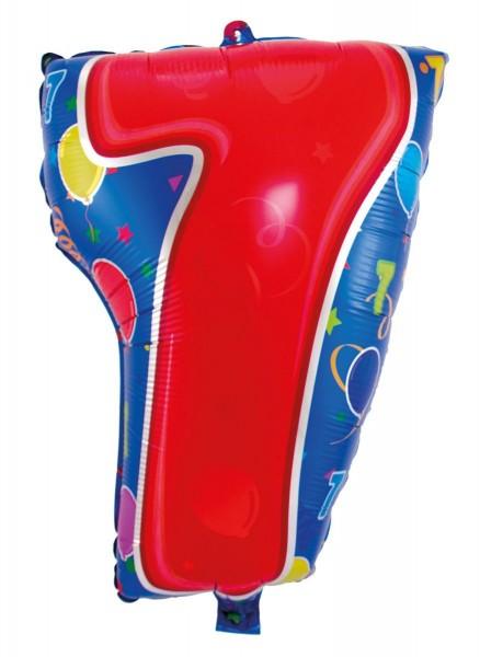Folienballon 7 bunt, ca. 56 cm