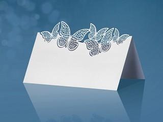 Tischkarten weiß/creme mit ausgestanzten Schmetterlingen, 9,2 x 5,7 cm, 10 Stück