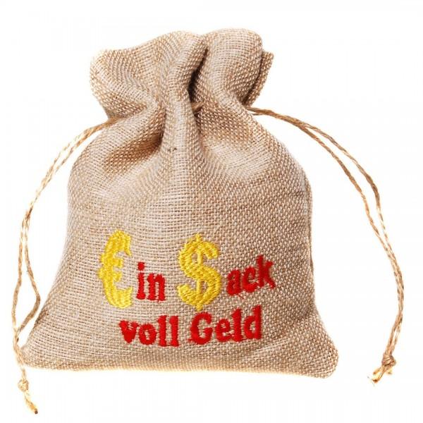Jutebeutel Ein Sack voll Geld, ca. 16,5x12 cm