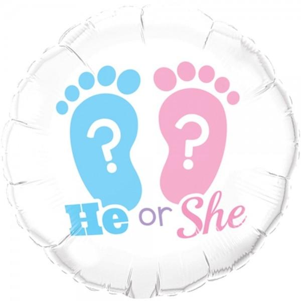 Ballongruß: He or She ? ca. 45 cm