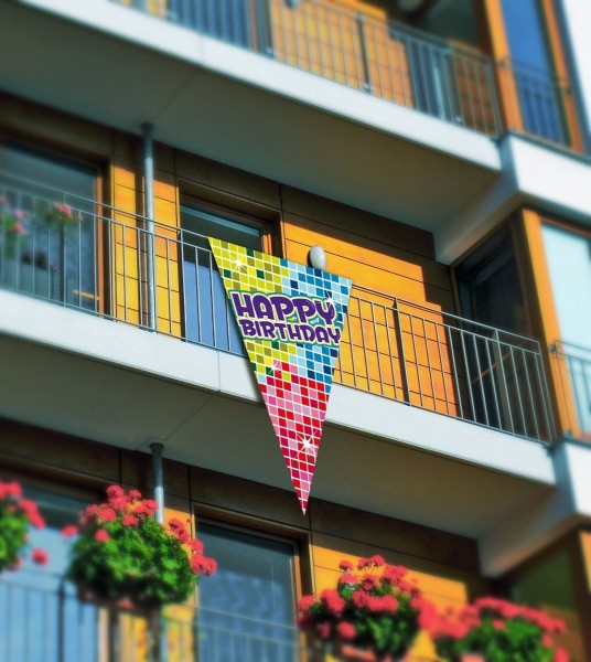 Wimpel-Banner Happy Birthday, bunt, ca. 150x90 cm