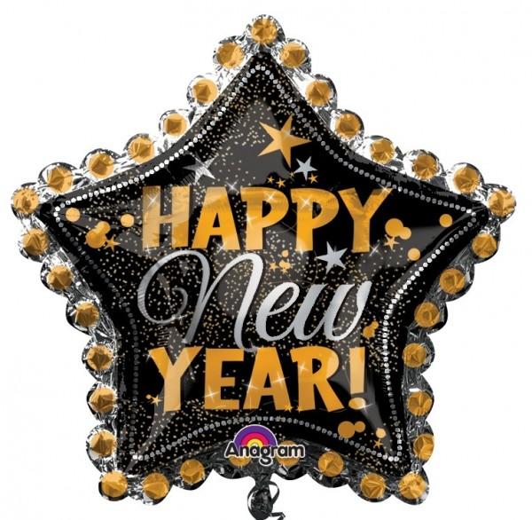 Folienballon Happy New Year Stern silber/gold/schwarz, ca. 76 cm
