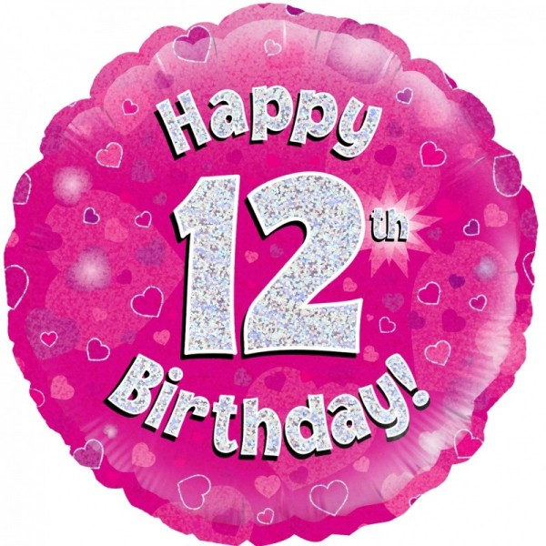 Folienballon Happy 12th Birthday PINK, ca. 45 cm