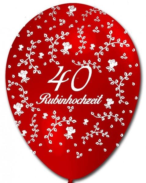 5 rote Luftballons 40 Rubinhochzeit, Rosenaufdruck, ca. 30 cm