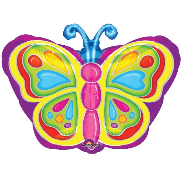 Ballongruß: Bunter Schmetterling, ca. 45 cm