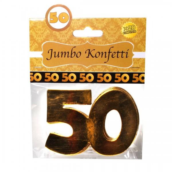 Streudeko Zahlen 50 gold, ca. 7,5 x 10 cm, 20 St.