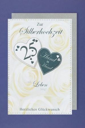 Grußkarte: Zur Silberhochzeit 25 - Hand in Hand...ein Leben lang