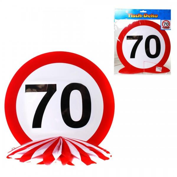 Tischdeko 70 Verkehrsschild, Schild auf Wabenfächer, ca. 25 cm