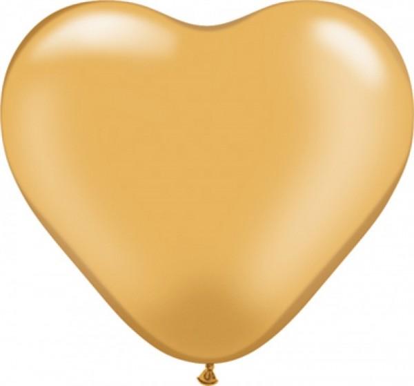 50 Herzballons gold, ca. 40 cm
