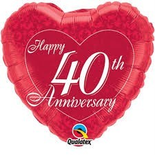Ballongruß: Happy 40th Anniversary, ca. 45 cm