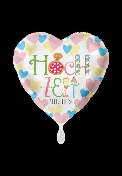 Folienherz Hochzeit - Alles Liebe, bunte Herzen, ca. 45 cm