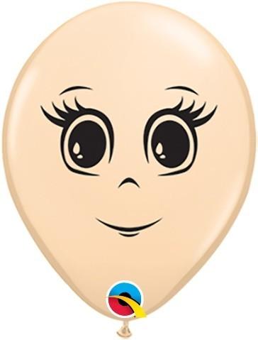 5 Ballons Gesicht Frau, Qualatex, ca. 13 cm
