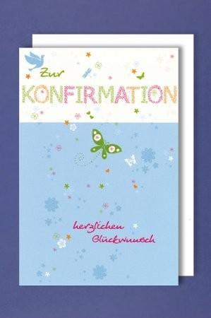 Grußkarte: Zur Konfirmation herzlichen Glückwunsch - Schmetterling
