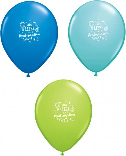 6 Ballons Alles Liebe zur Konfirmation, blau grün türkis, ca. 28/30 cm
