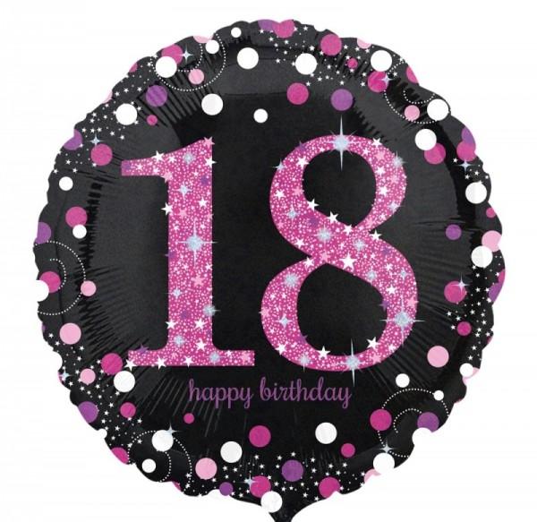 Ballongruß: 18 schwarz/weiß/pink, ca. 45 cm