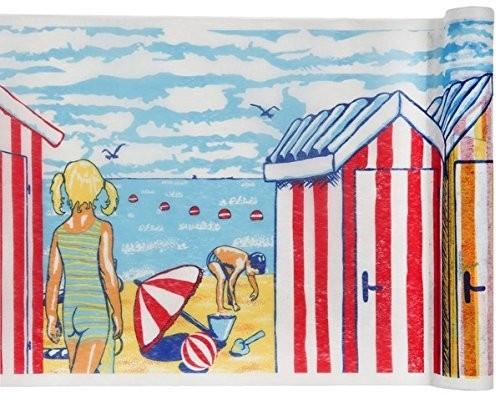 Tischband BREIT Urlaub Strand, 30 cm x 5 Meter Rolle