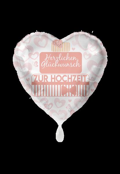 Folienherz Herzlichen Glückwunsch zur Hochzeit, rosa/apricot, ca. 45 cm