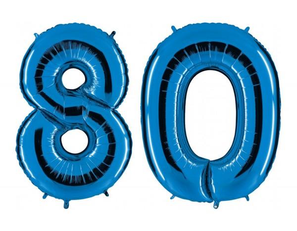 Folienballon Set Zahl 80, ca. 100 cm, blau