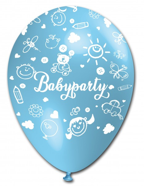 5 Ballons Babyparty, hellblau & blau, ca. 30 cm