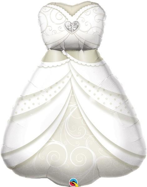 Folien-Shape Braut Brautkleid weiß, ca. 97 cm