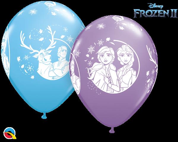 5 Ballons Frozen Eisprinzessin, sortiert, Qualatex, ca. 30 cm