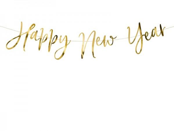 Buchstabengirlande HAPPY NEW YEAR gold, 2 M.