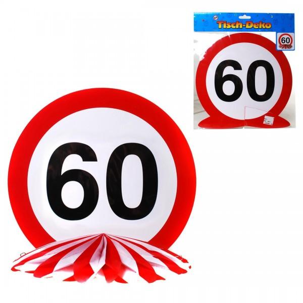 Tischdeko 60 Verkehrsschild, Schild auf Wabenfächer, ca. 25 cm