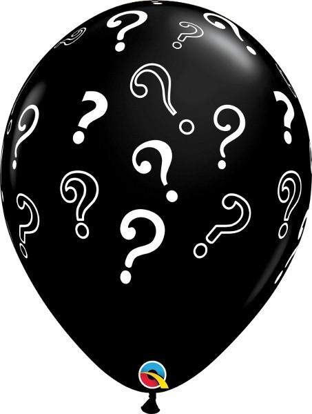 5 schwarze Qualatex Luftballons mit weißen Fragezeichen, ca. 40 cm Durchmesser