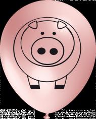 10 Ballons Schwein, rosa, ca. 30 cm