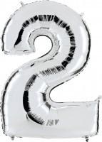 Folienballon Zahl 2, ca. 41 cm, silber, für Luftbefüllung