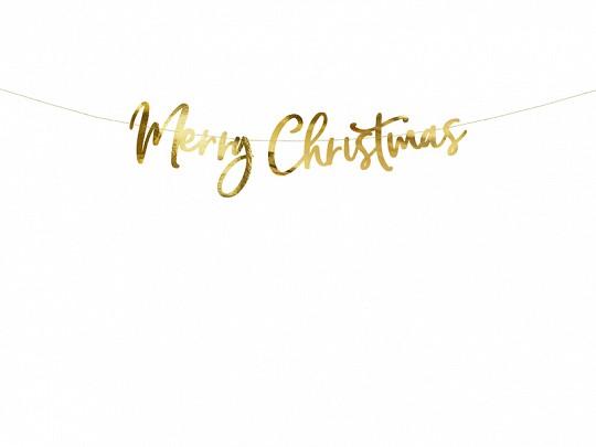 Buchstabengirlande Merry Christmas gold, ca. 1,5 Meter