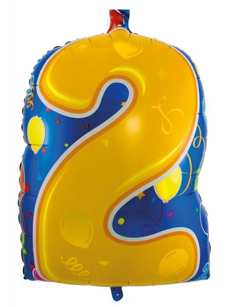 Ballongruß: Zahl 2 bunt, ca. 53 cm