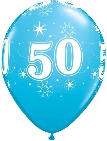 5 Zahlenballons 50 Qualatex, blau, ca. 30 cm