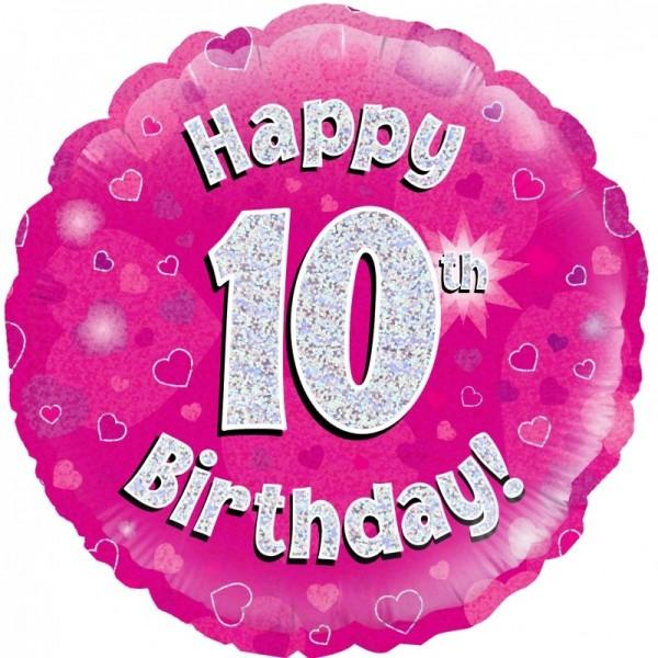 Folienballon Happy 10th Birthday PINK, ca. 45 cm