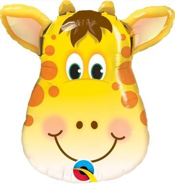 Mini-Folienballon Giraffe Kopf, luftgefüllt, inkl. Stab, ca. 27 cm