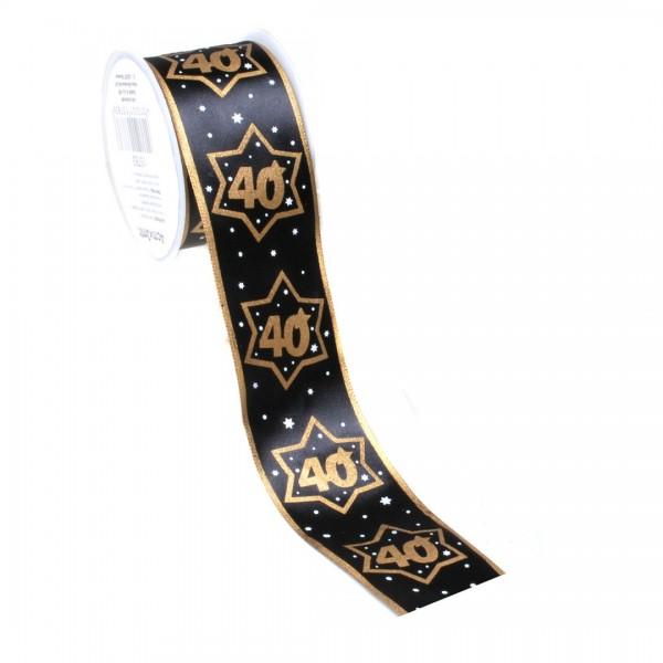 Geschenkband 40 schwarz/gold 3 Meter