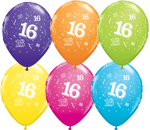 5 Zahlenballons 16 Qualatex, Tropical-Mix, ca. 30 cm