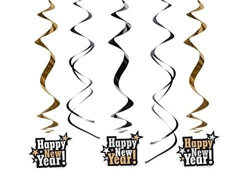 Swirl-Deko Happy New Year, ca. 60 cm, 5 St.