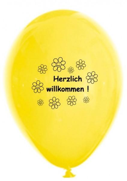 10 Ballons Herzlich Willkommen, bunt sortiert, ca. 30 cm
