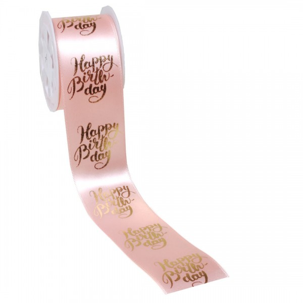 Geschenkband Happy Birthday rose gold, 4 cm x 3 Meter
