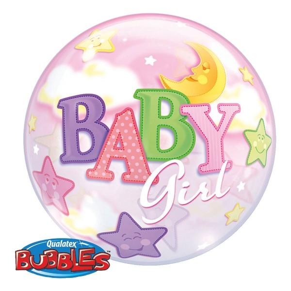 Ballongruß: Bubble Baby Girl Mond & Sterne, ca. 56 cm