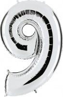 Folienballon Zahl 9, ca. 41 cm, silber, für Luftbefüllung
