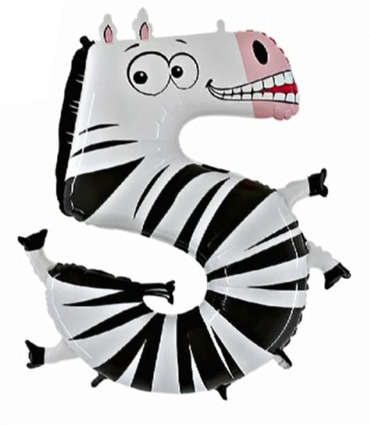 Ballongruß: Riesenzahl 5 Zebra Animaloons, ca. 100 cm