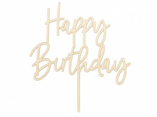 Cake Topper Tortendeko Happy Birthday Holz, ca. 15x16,5 cm