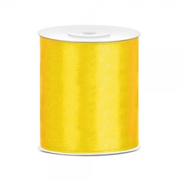 Tischband Satinband 10 cm x 25 Meter Rolle gelb
