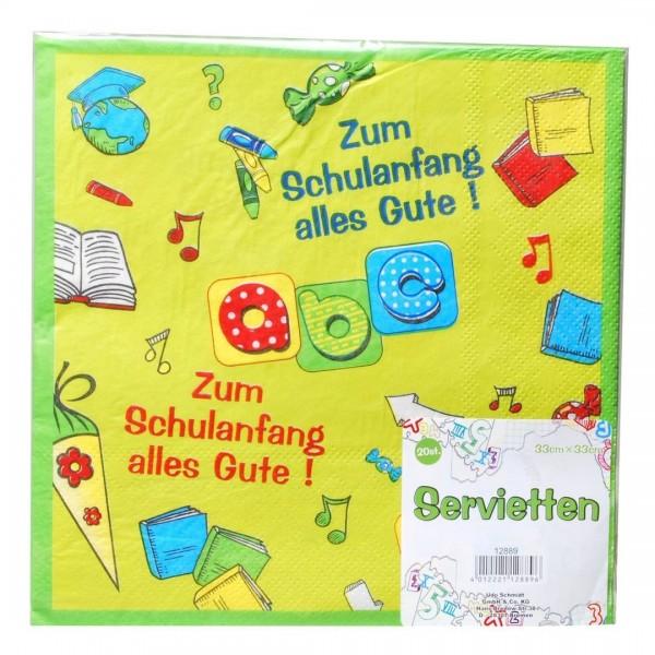 Servietten Zum Schulanfang alles Gute! ca. 33x33 cm, 20 St.