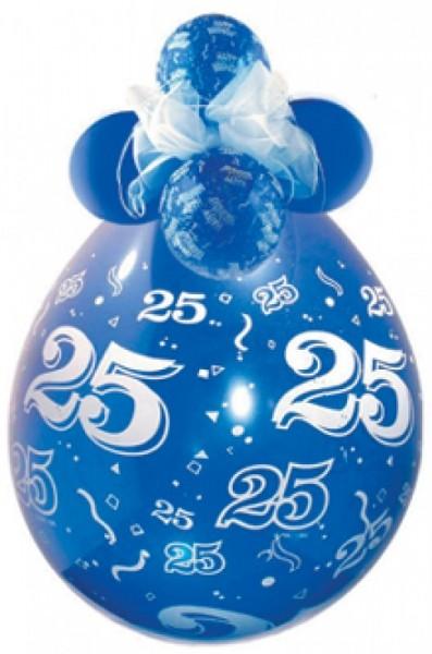 Zahl 25 Verpackungsballon, transparent, Qualatex, ca. 45 cm