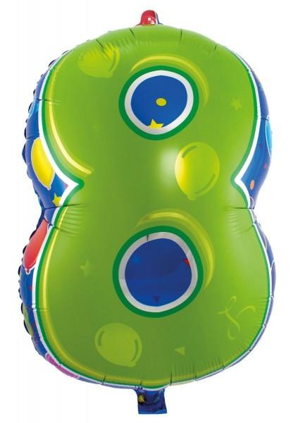 Folienballon 8 bunt, ca. 56 cm